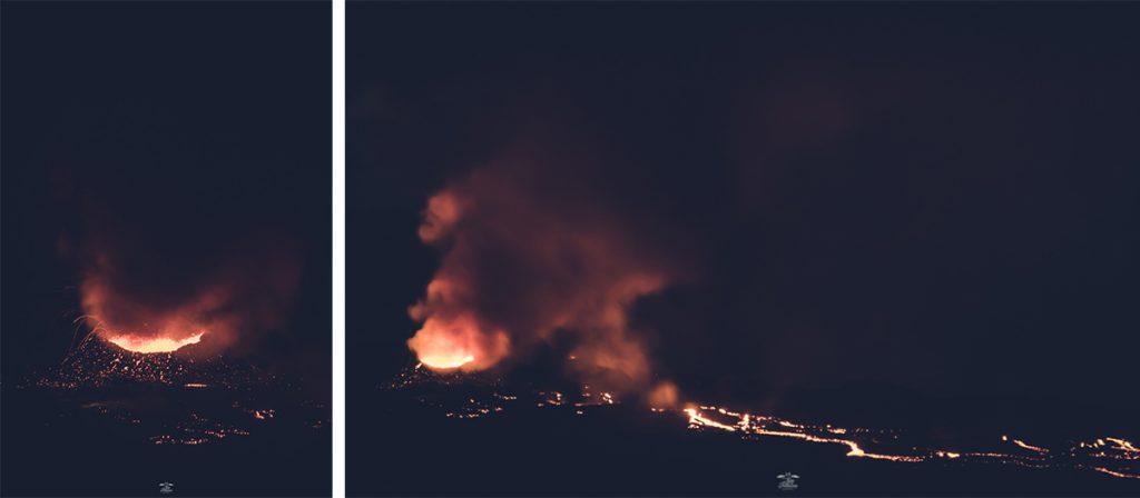 erupción del volcán del horno