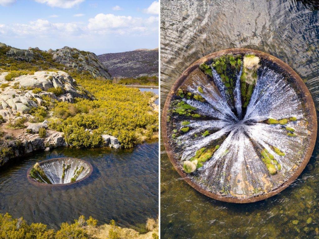 Foto de viaje de un agujero en un lago en Portugal