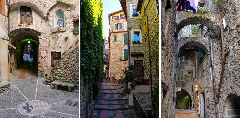 Calles estrechas de la aldea de Dolceacqua Italia