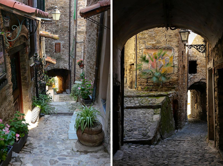 Calles estrechas de la aldea de Apricale Italia