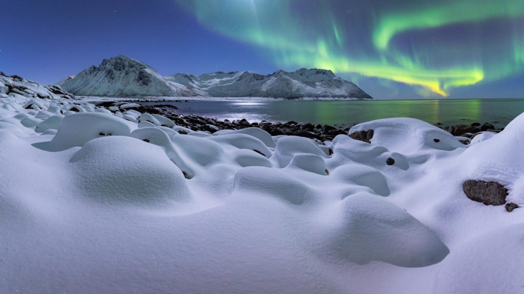Laponia invierno noruega Nuggets Beach aurora borealis paisaje
