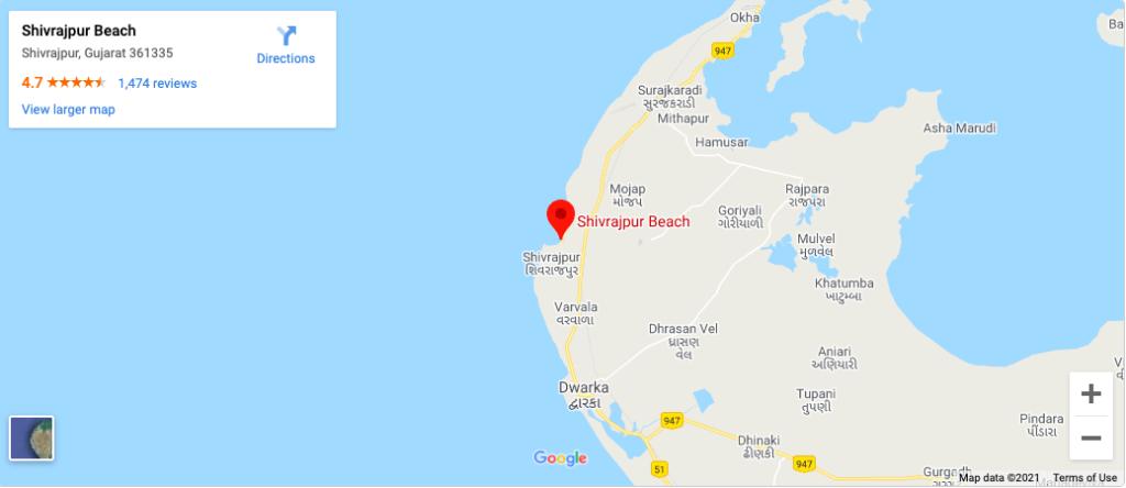 Mapa de la playa de Shivrajpur