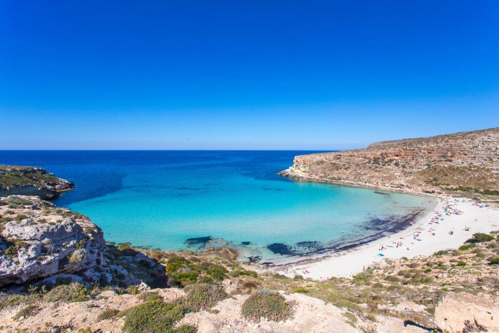 Playa de los conejos en Lampedusa