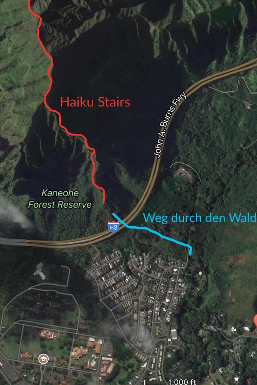 Mapa de inicio de la excursión por las escaleras de Haiku