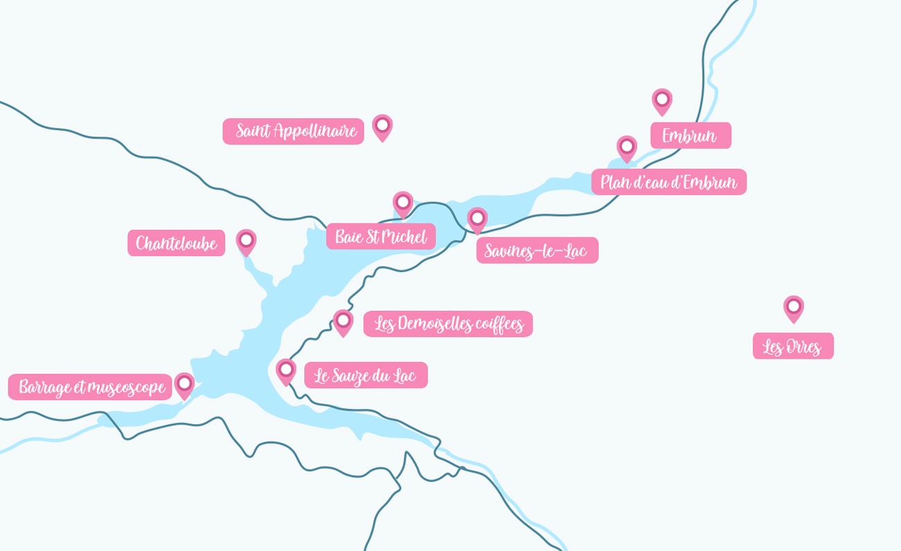 Mapa de actividades para hacer en los alrededores de Serre-Ponçon