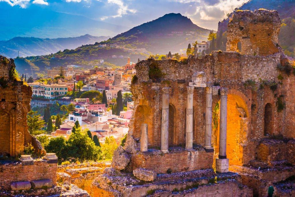 Las ruinas de Taormina en Sicilia