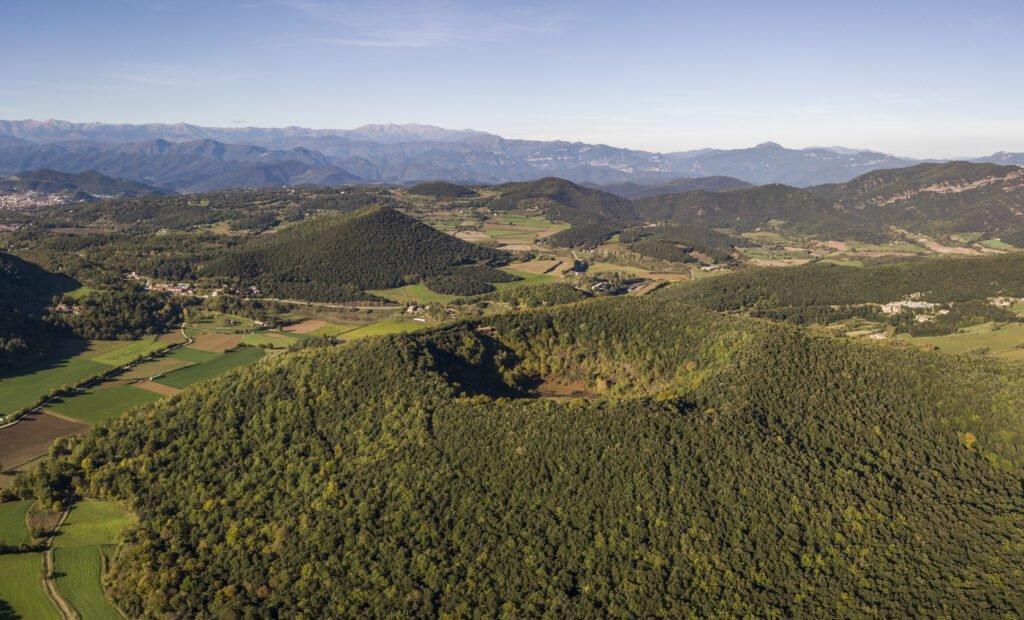 Vista aérea de la Garrotxa en Cataluña
