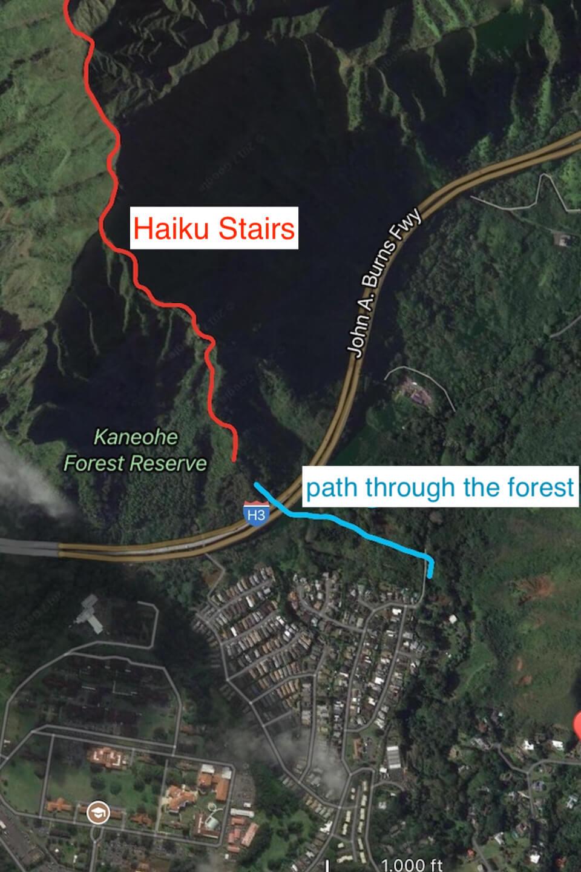 Mapa de escalas de haiku en Hawaii