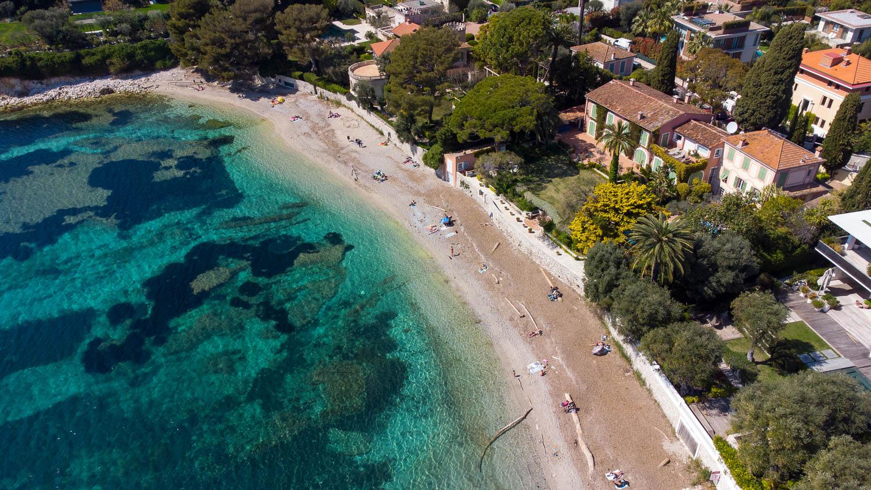 Playa de Fosses Saint Jean Cap Ferrat (vista de drone)