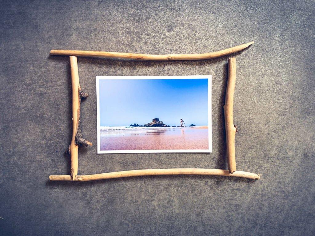 Marco de fotos de viaje de madera flotante