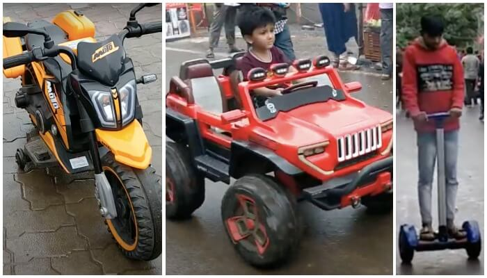 Small battery-operated cars and bikes and Segway